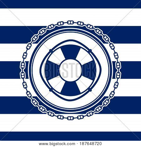 Round Sea Emblem Lifebuoy and Chain on a Striped Marine Background Vector Illustration