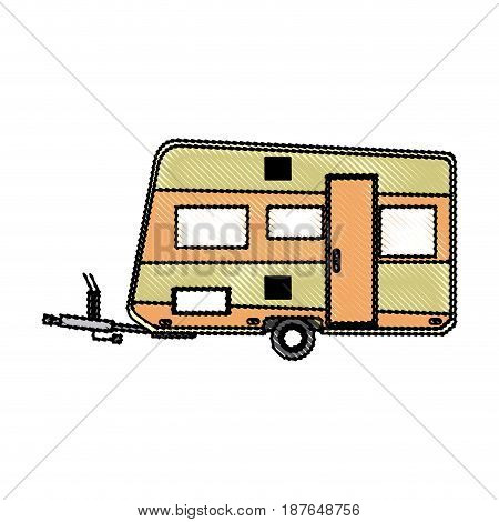 trailer camping vehicle transport travel vacation vector illustration