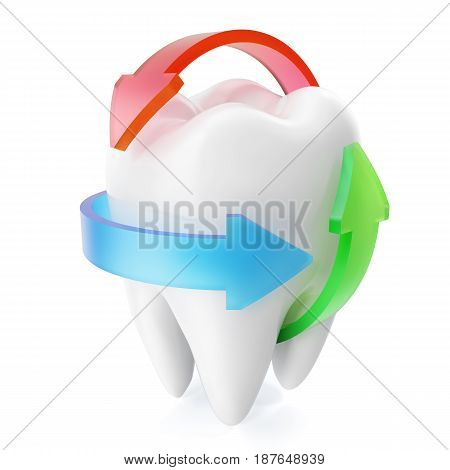Clean and glossy realistic tooth protection isolated on white background. Protection concept. 3D rendering