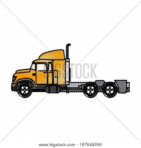 truck cabin trailer transport business vector illustration