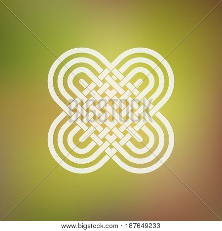 Isolated abstract simmetric icon in Celtic and ethnic style. Stylized two hearts in the traditional Viking style.