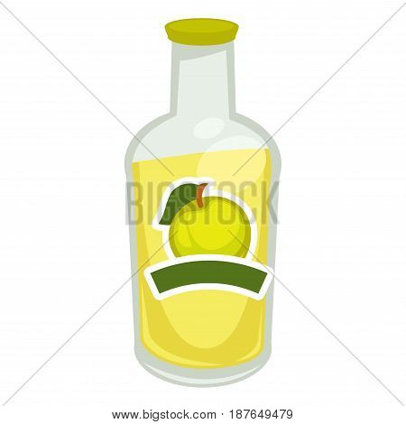 Vector illustration of glass bottle filled with apple taste fizzy water isolated on white.