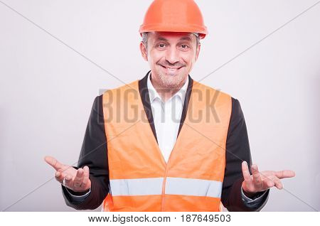 Engineer Wearing Reflective Vest Making Explanation Gesture