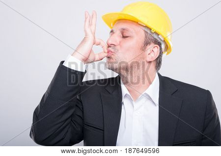 Portrait Of Handsome Engineer Making Perfect Gesture