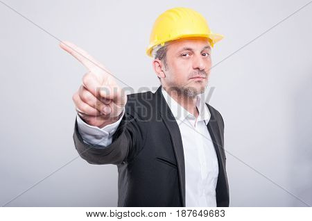 Handsome Contractor Wearing Helmet Gesturing Denial