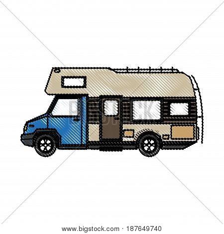 truck camper home travel transport image vector illustration