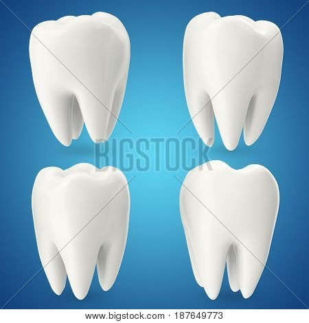 Set teeth, concept dental care isolated on blue background, for your design project. 3D rendering