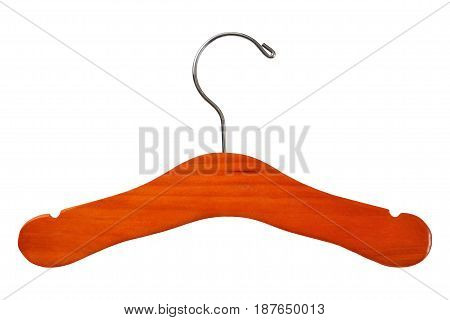 Old fashioned wooden coat hanger isolated on white background