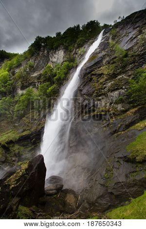 powerful waterfall in Foroglio Bavona in Swiss mountains