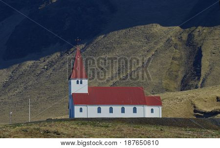 An adorable chapel in the village of Vik Iceland.