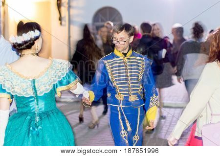 NIZHNY NOVGOROD, RUSSIA  May 20, 2017: Night of museums festival. The yard of the mansion of the merchant Rukavishnikov. People perform Spanish waltz. Costume show. NIZHNY NOVGOROD
