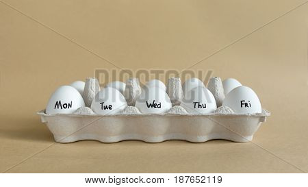 Monday To Friday Written On Eggs.