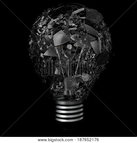 Light bulib isolated on black background, explosion bulb. 3d rendering