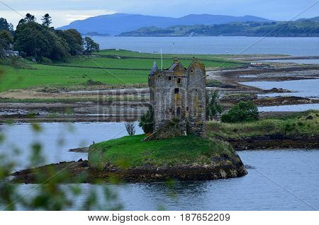 Castle Stalker on Loch Linnhe in Scotland.