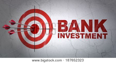 Success currency concept: arrows hitting the center of target, Red Bank Investment on wall background, 3D rendering