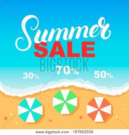 Summer Sale banner design template. Sea, beach, umbrellas. Vector illustration.