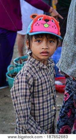 Portrait Of Koho Girl In Dalat, Vietnam
