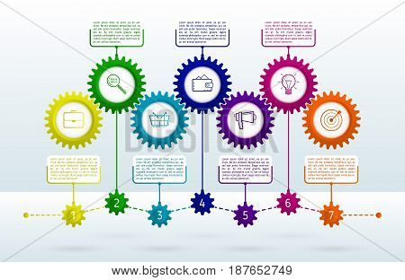 Abstract gears infographic with 7 steps. Mechanism with integrated gears and icons for business presentations or information banner. Modern design of background esp 10