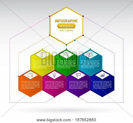Abstract seven hexagon business Infographics elements. Design template with colorful option and icons infographic hexagons