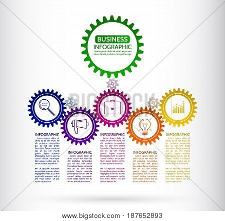 Abstract connected gears style business infographics. Communication concept with icons and text boxes. Vector illustration eps 10