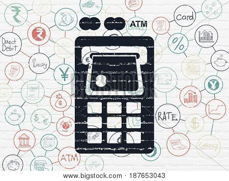 Money concept: Painted black ATM Machine icon on White Brick wall background with Scheme Of Hand Drawn Finance Icons