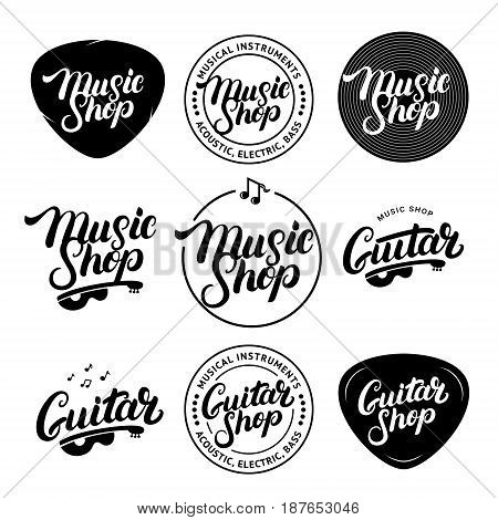 Set of Music Shop and Guitar Shop hand written lettering logos, labels, badges, emblems. Vintage style. Isolated on white background. Vector illustration.