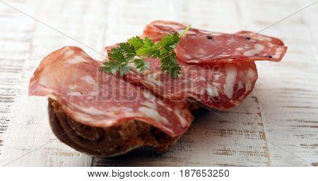 Salami Sandwich. Open Sandwich Of Salami Slices On Whole Grain Bread.