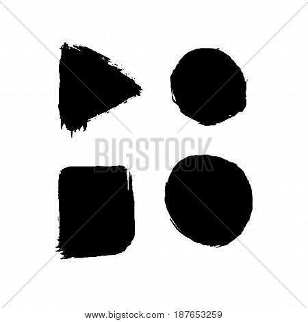 Set of four black ink geometric shapes. Vector design element