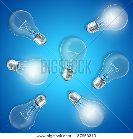 Group of lamp bulbs on blue background with glowing bulbs. Concept innovation ideas. 3d rendering