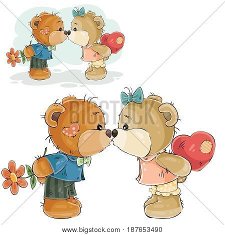 Vector illustration of a pair of brown teddy bears boy and girl kissing, declaration of love. Print, template, design element