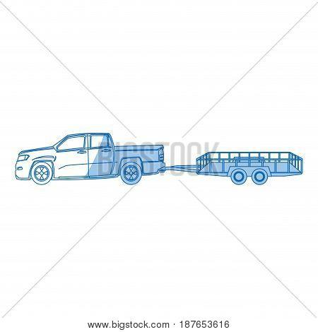 pickup truck trailer cargo shipping image vector illustration