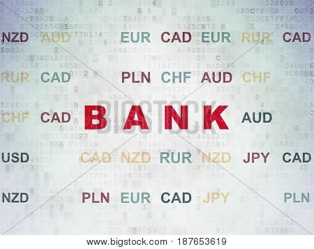 Currency concept: Painted red text Bank on Digital Data Paper background with Currency