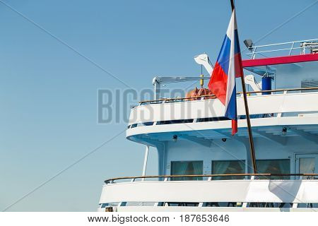 Russia flag on the stern of the passenger ship