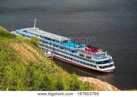 Cruise passenger ship stands on the banks