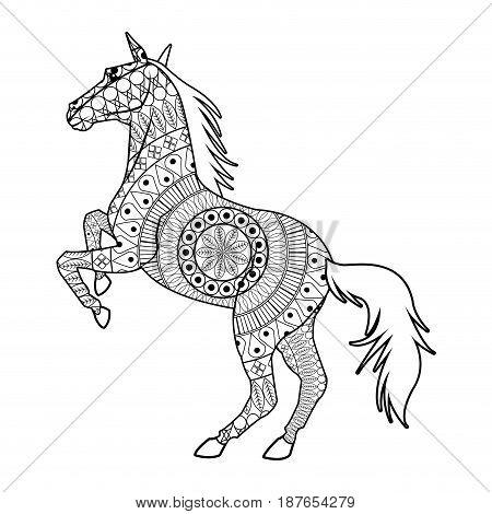horse on two legs - mandala decoration animal image vector illustration