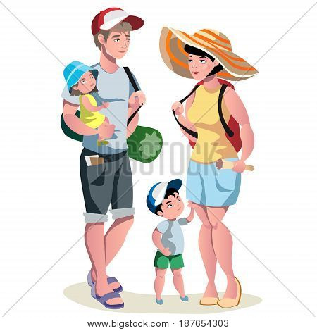 Family vacation. Family people travelling. Family vacation with children and suitcases