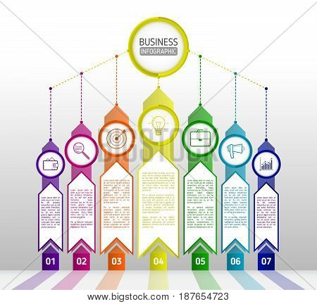 Abstract infographics template with arrows. Flat design elements. Infographics seven options with number icons and Information text. Abstract business concept with 7 options or steps. Vector illustration eps 10
