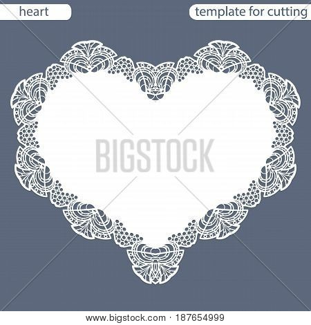 Greeting card with openwork border paper doily under the cake template for cutting in the form of heart valentine card wedding invitation decorative plate is laser cut vector illustrations.