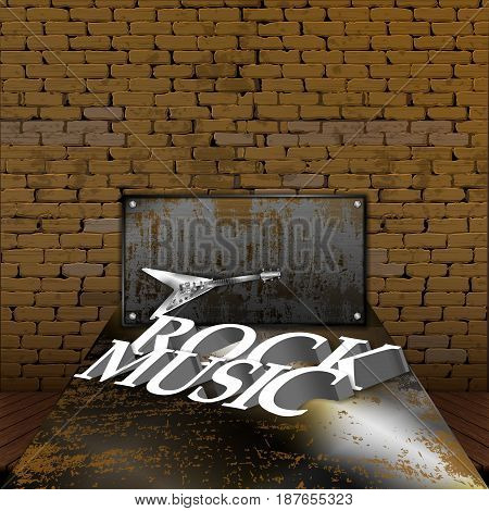 A rock music text on a rusty metal sheet with an electric guitar and an iron shield with a brick wall on the background.
