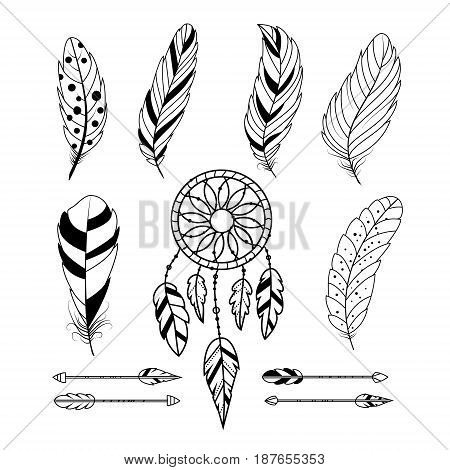 Set of feathers, arrows and dream catcher. Boho tribal style. Isolated on white background. Vector illustration.