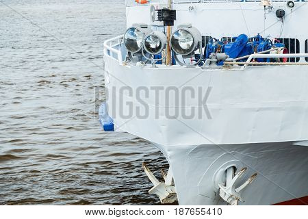 Bow of a ferry ship with anchors