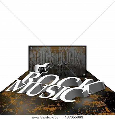 The text is rock music on a rusty metal sheet with an electric guitar and an iron shield.