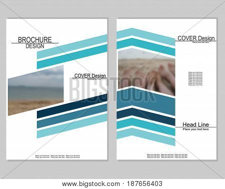 Vector brochure cover templates with blurred sea. EPS 10. Mesh background.