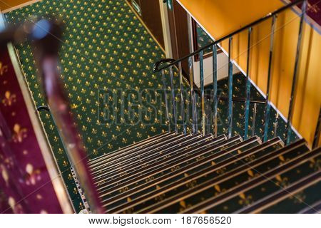 Stairs in the interior of the cruise ship