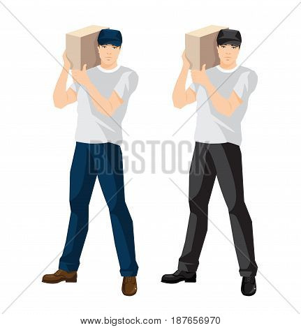 Vector illustration of man loader or courier hold package