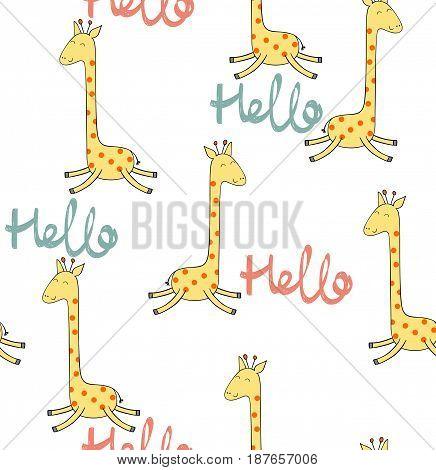 Vector drawn seamless pattern with cartoon giraffe