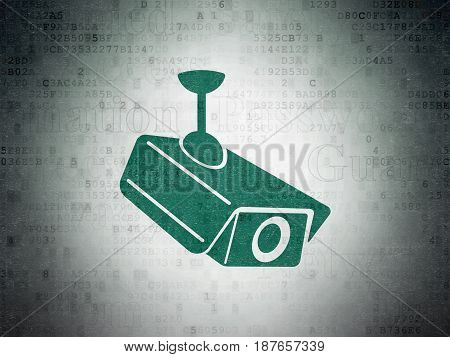 Privacy concept: Painted green Cctv Camera icon on Digital Data Paper background with  Tag Cloud