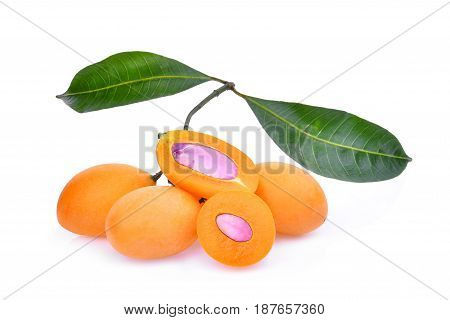 marian plum fruit with leaves isolated on white background