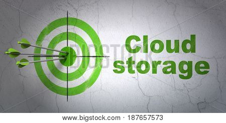 Success security concept: arrows hitting the center of target, Green Cloud Storage on wall background, 3D rendering
