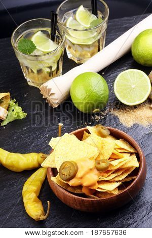 Caipirinha Of Brazil, Tacos And Delicious Nachos With Melted Che